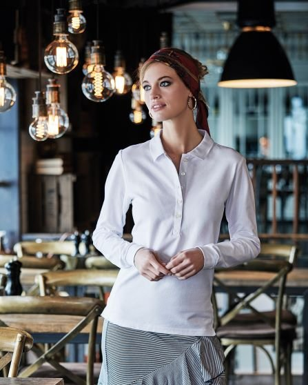Ladies` Luxury LS Stretch Polo
